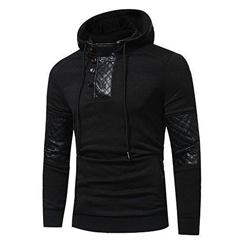Xmiral Herren Hoodie Kapuzenpullover Herbst und Winter Baumwollmischung Sweatshirt-Jacke(XL,Schwarz)