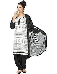INDIAN FAIR LADY Printed White & Black Color Stitched Cotton Suit Set For Women - B07CVDTXPD