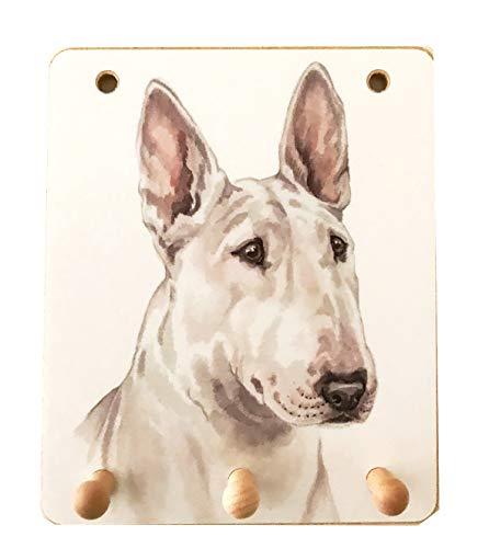 Key Racks Bull Terrier Lover Geschenk–Britischen Künstlerin Christine Varley 's schöne 3Haken Holz Schlüssel/Rack, Maßnahmen führen H 15,2x 12,7cm