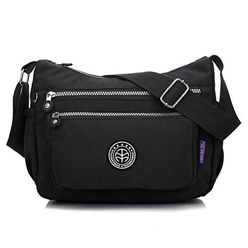 Outreo Kuriertasche Damen Umhängetasche Designer Schultertasche Mode Taschen Leichter Messenger Bag Reisetasche Lässige Wasserdicht Sporttasche Schwarz