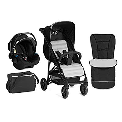 Hauck Rapid 4 Plus Shop N Drive Set Quick Fold Travel System, from Birth to 22 Kg, Black/Silver (Group 0+ Car Seat, Compatible with Optional ISOFix Base, Foot muff, Changing Bag and Raincover) [pro.tec]
