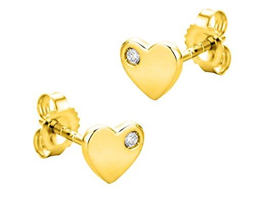 Orovi Ohrringe für Damen Ohr-Schmuck GelbGold 9 Karat/ 375 Gold Herz Ohrstecker mit Diamant