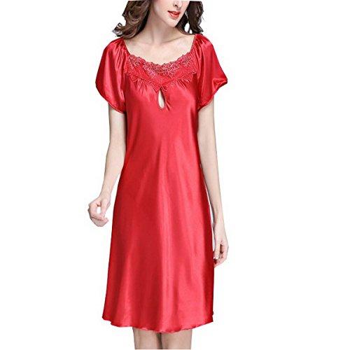 Ahatech Komfortable Unifarbe Seide Nachtkleid Rot2