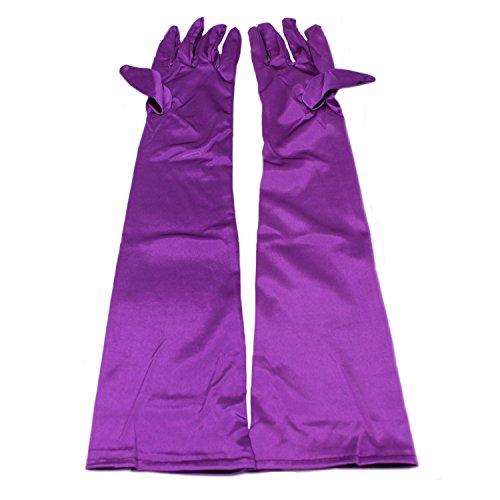 MEISHINE® Braut Ellenbogenlange Handschuhe Damen Frauen Lange Satin Stretch Handschuhe für Hochzeit Abendveranstaltung (Lila)