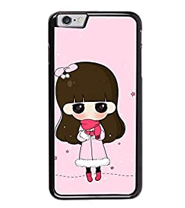 Fuson Premium 2D Back Case Cover Cute Girl With blue Background Degined For Apple iPhone 6