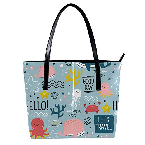 Women's Bag Shoulder Tote handbag Animal Pattern print Zipper Purse PU Leather Top-handle Zip Bags
