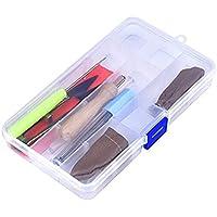 ROSENICE Kit Agujas de Fieltro Punzón Almohadilla de Espuma Tijeras Pegamento Stick Manija de Fieltro de Madera Protector Dedos (Color Aleatorio)