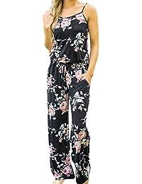 4eab886c7b7 Jamicy Women Ladies Summer Boho Floral Sleeveless Holiday Casual Long Pants  Playsuits Jumpsuit