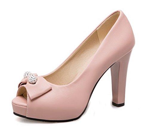 Aisun Femme Nouveau Style Peep Toe Noeud Sandales Rose
