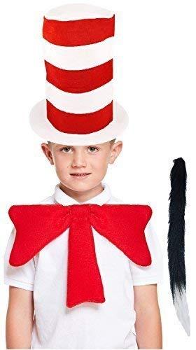 Kinder Jungen Mädchen Verrückt Katze Dr Seuss Welttag des Buches-Tage-Woche Schule Spaß Kostüm Kleid Outfit Zubehör Set