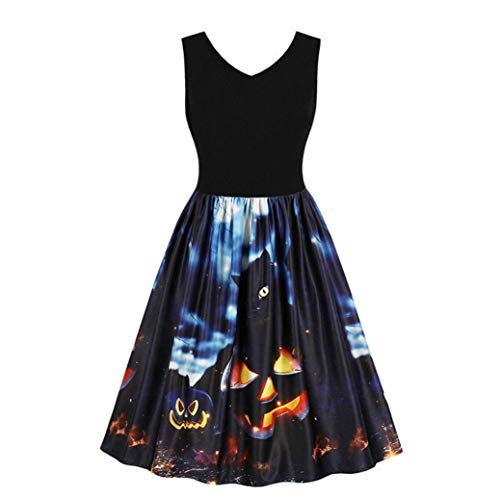 HCFKJ Kleid, S- XXL, 2018 Elegant Frauen Sleeveless Vintage Kürbisse Halloween Abend Prom Kostüm Swing Kleid (M, BK)