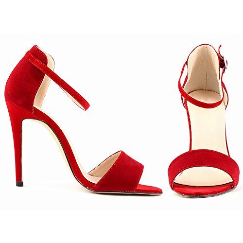 Eastlion Damen und Mädchen Stilett Hoch Hacke Sandalen,35-42 Rot