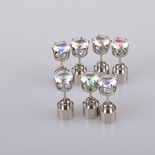 Namsan 1 Paar LED Ohrringe Glowing Light Up mit Diamant-Kronen-Art-Ohr-Bolzen-Tropfen-hängende Edelstahl für Party-Partei-Bunt (Kostüme Aus Stahl Mann Erwachsenen)