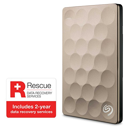 Seagate Backup Plus Ultra Slim 1TB USB 3.0 External Hard Drive with Mobile Device Backup (Gold)
