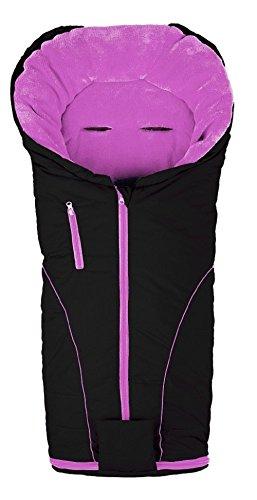 AltaBeBe Deluxe Line - Saco de abrigo para silla de paseo, color negro/rosa