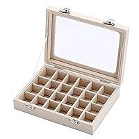 LSXLSD Velvet Glass Jewelry Ring Display Organiser Box Tray Holder Earrings Storage Case (beige)