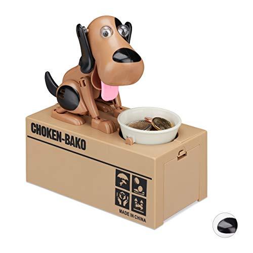 Relaxdays 10024272_469 Spardose Hund, Gelddose, elektrische Sparbüchse für Kinder, ab 6 Jahre, HBT: 16 x 16,5 x 8 cm, braun-schwarz