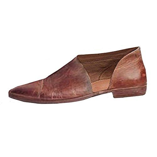 Sandalen Damen, Cooljun Frauen Frühling Fashion Casual spitz flache Schuhe nackt Schuhe PU/Solid/Square Heel/Knöchel/Spitze Zehe/Gummi/Mode (38, Braun)