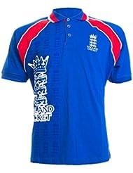 Inglaterra Cricket Retro Raglan Polo–azul–tamaño mediano
