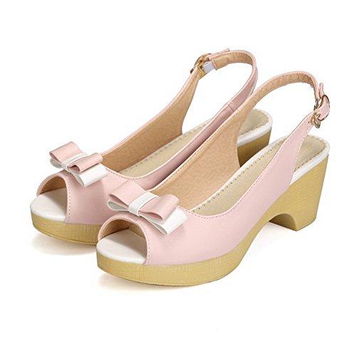 VogueZone009 Donna Luccichio Colore Assortito Fibbia Sbirciare Tacco Medio Sandali Rosa