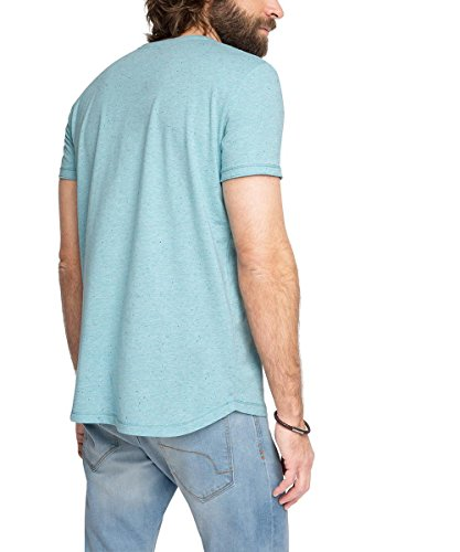 ESPRIT Herren T-Shirt 046ee2k070 - mit Print - Regular Fit Blau (LIGHT TURQUOISE 480)