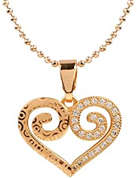 Ananth Jewels Heart Shaped Rose Gold Plated Pendant Necklace For Women - B073T3Z67Q