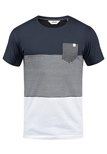!Solid Malte Herren T-Shirt Kurzarm Shirt Mit Streifen Und Rundhals, Größe:M, Farbe:Insignia Blue (1991)