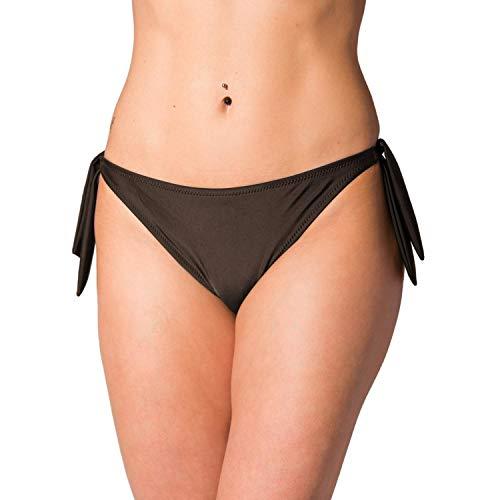 Aquarti Damen Bikinihose seitlich zum Binden Hüftslip, Farbe: Braun, Größe: 38