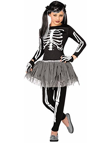 Child Girls Skeleton Fancy Dress Costume Outfit...