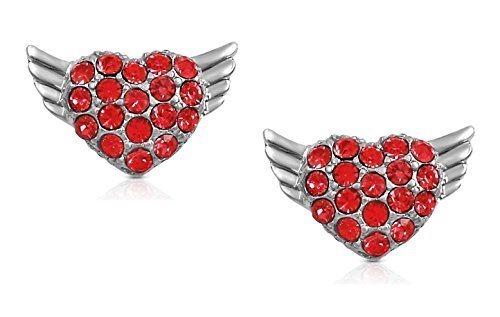 Klein Silber Ton Flying Heart Herz Engel Flügel Ohrstecker mit funkelnden roten Kristallen -