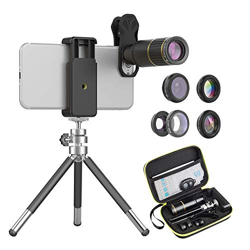 APEXEL 6 in 1 Cell Phone Camera Lens Kit,16X Telephoto Lens+ 198°Fisheye Lens+0.63X Wide Angle&15X Macro Lens+Kaleidoscope+CPL Filter with Mini Travel Tripod for iPhone Samsung and most Smartphone