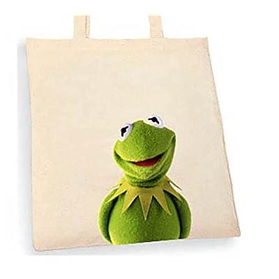Kermit Tote bag. Beige cotton bag, Cotton Tote Bag, Can be used as a bag for life shopping bag, handbag, fashion bag, school bag, beach bag, shoulder bag. - handmade-bags