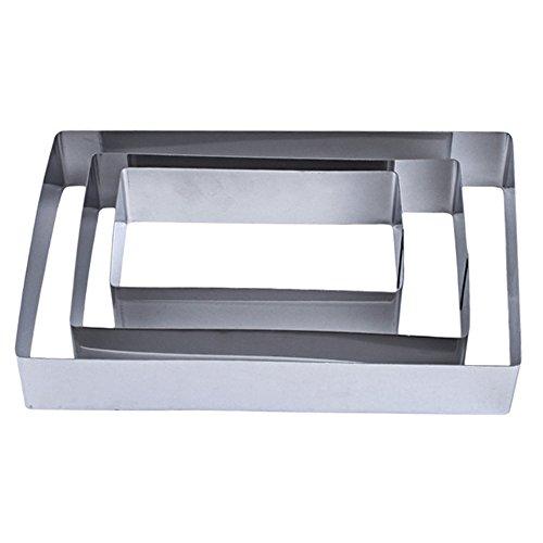 3-schicht-hochzeits-ring (TAMUME Edelstahl Rechteckig Kuchen Zinn Satz von 3 für Schicht Kuchen Form Mousse Ring Form ideal für Hochzeits Kuchen Form und Dessert Form(Rechteckig))