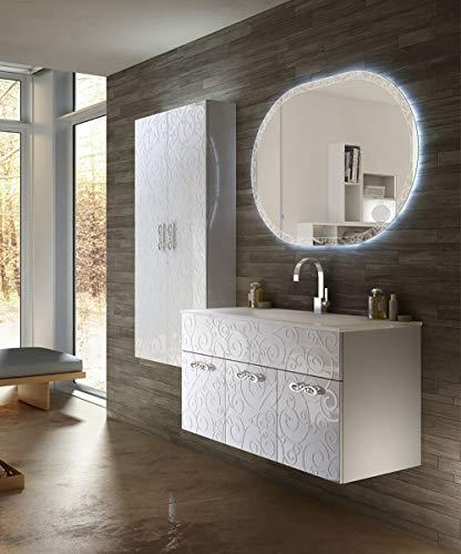 Mobile bagno sospeso moderno floreale miami bianco lucido, misura cm 100, con specchio a led,lavabo e colonna