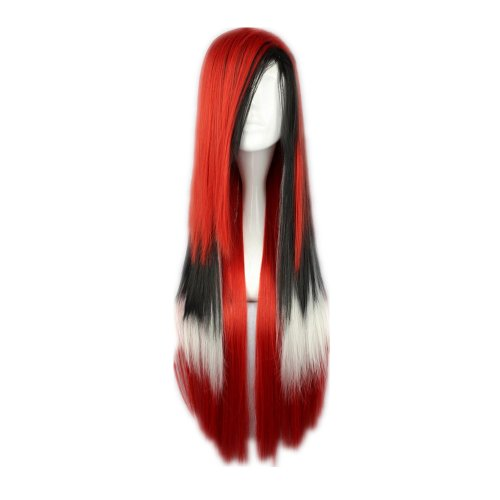 Perücke Kostüm Daenerys - COSPLAZA Cosplay Wigs Kostueme Peruecke Harajuku Gothic Lolita gerade lang Anime 80cm Rot Schwarz und Weiss