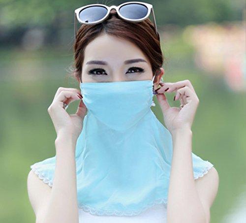 LER Weiblicher Sommer dünne Breathable UVschleier-Sonnenschutzmaske/Schatten / Lichtschutz/Staub / UV/Gesichtspflege,Blau,Einheitsgröße