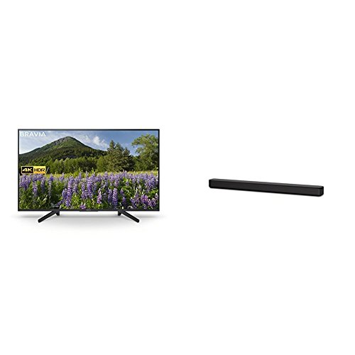 Sony KD43XF7003 43-Inch 4K HDR Ultra HD Smart TV for Google Home and Amazon Alexa  2018 Model  with Sony HT-SF150 2ch Single Soundbar with Bluetooth and S-Force Front Surround - Black