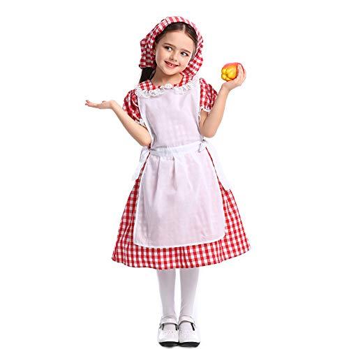 QYS Colonial Pioneer Prairie Historische Dienstmädchen Kostüme Kleid für Kleinkind Kind Mädchen 4-12 Jahre,Skirt,L (Betsy Kinder Ross Kostüm)