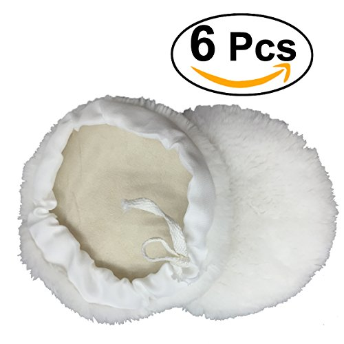 UEETEK 6 Pcs Polierfell 180mm Pad Polierhaube Polierset für Poliermaschine