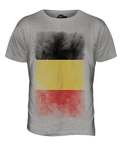 CandyMix Belgien Verblichen Flagge Herren T Shirt Grau Meliert