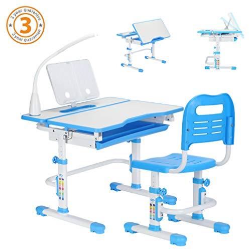 STUDY RIGHT 80cm Höhenverstellbarer ergonomische Tisch&Stuhl für Kinder, Es enthält Neigbarer Desktop, ausziehbare Schublade, Sitzpolster, LED-Leuchte, undkostenloses Buch Inhaber. Modell: FS-801