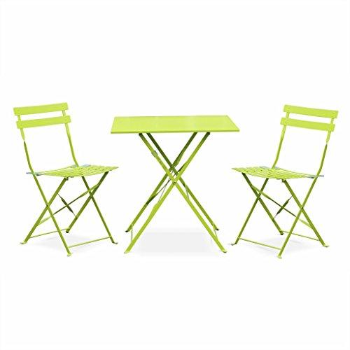 Alice's Garden - Salon de Jardin bistrot Pliable - Emilia carré Vert anis - Table carrée 70x70cm avec Deux chaises Pliantes, Acier thermolaqué, chaises avec Lames incurvées