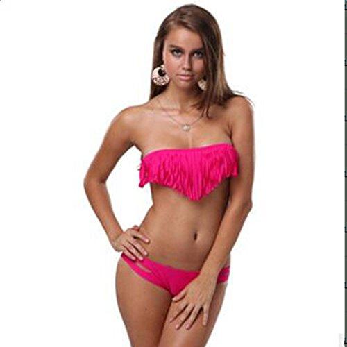 Asvert fringed Bikini-Badeanzug aus Nylon, Spandex, im europäischen Stil, hohe Elastizität Rosa
