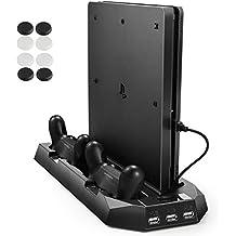 PECHAM PS4 enfriador vertical, PlayStation 4 y PS 4 Slim Consola de soporte vertical ventilador de refrigeración estación de carga