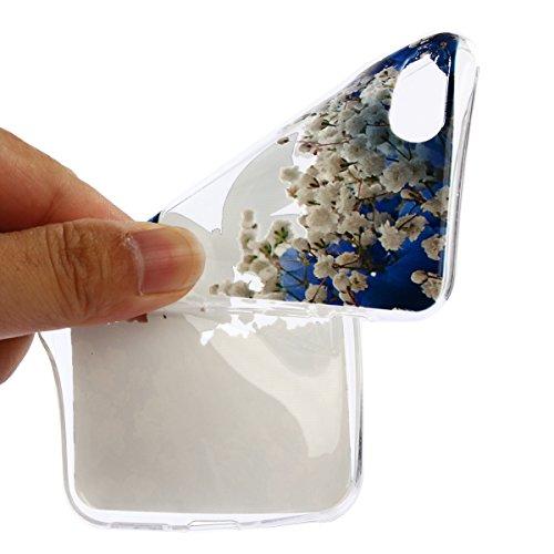 iPhone 8 Hülle,iPhone 7 Hülle,iPhone 7/iPhone 8 Silikon Hülle Tasche Handyhülle,SainCat Relief Obst Muster Ultra dünne Silikon Hülle Schutzhülle Durchsichtig Hadytasche Stoßfeste TPU Gel Case Bumper W Blue Butterfly