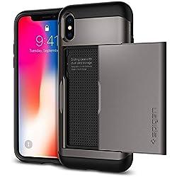Spigen Coque iPhone X, Etui iPhone X, [Slim Armor CS] Slim Fit Protection Double Couche [Gunmetal] Fente pour Carte/Coque Etui Housse pour iPhone X (2017) - (057CS22156)