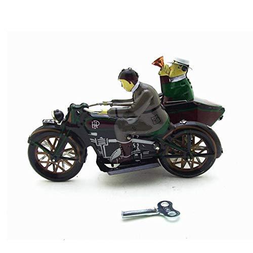 Ladicha moto con passeggero in sidecar retrò clockwork wind up giocattoli di latta con scatola