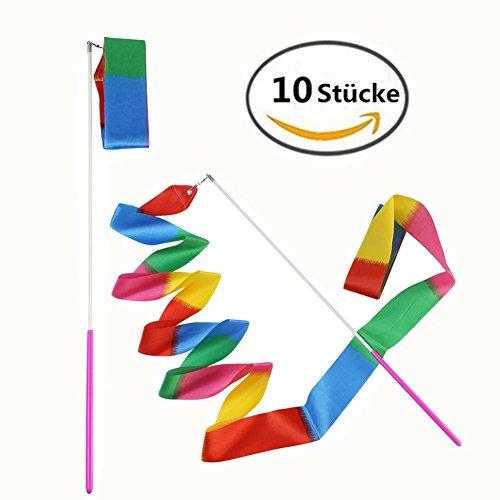 MUROAD 10 Stücke 4 Meter lang Gymnastikband, Tanzband Turnband Rhythmikband Wirbelband Schwungband mit Stab, wirbelnden Rod Stick für Kinder Kunst Tanzt Ballett(Flamme)
