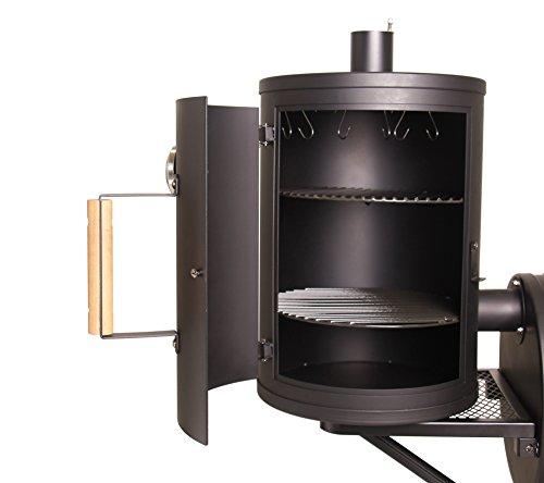 TAINO® PROFI XXL 90kg oder 110kg -Smoker BBQ GRILLWAGEN Holzkohle Grill Grillkamin 3,5 mm Stahl PROFI-QUALITÄT (Seitenkammer)