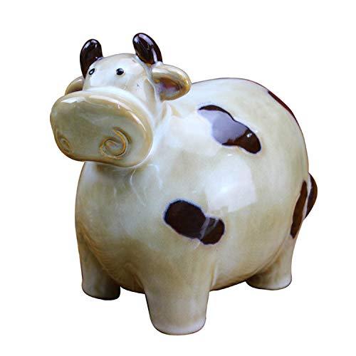 YXXHM- Artesanías de cerámica de los Bulls Europeos creativos, Vaca, Hucha de Monedas, Regalo de cumpleaños 16X11X15.5 CM